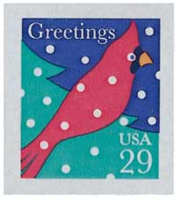 1994 29c Contemporary Christmas: Cardinal in Snow