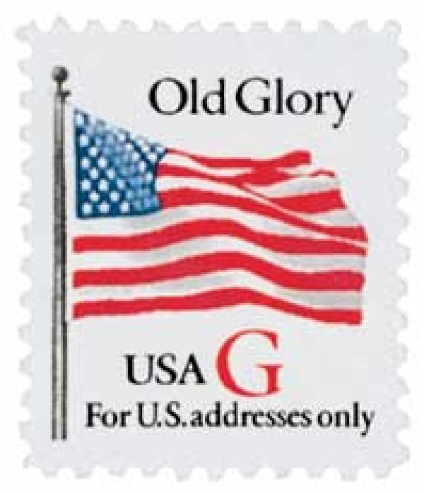 "1994 32c G-rate Old Glory, red ""G"""