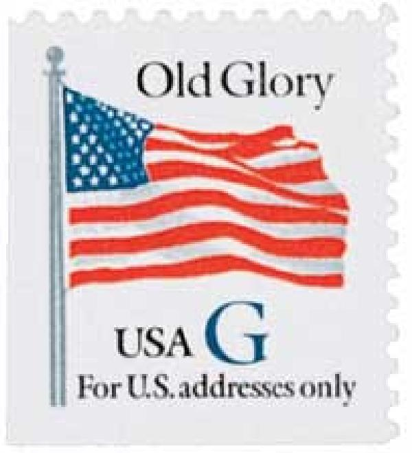 "1994 32c G-rate Old Glory, blue ""G"", booklet single"