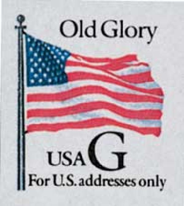 "1994 32c G-rate Old Glory, black ""G"", self-adhesive"