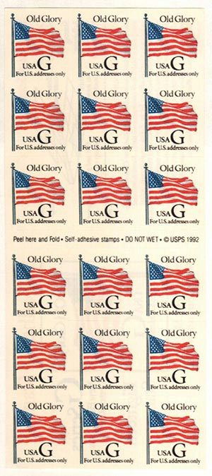 1994 32c Old Glory,self-adh,pane of 18