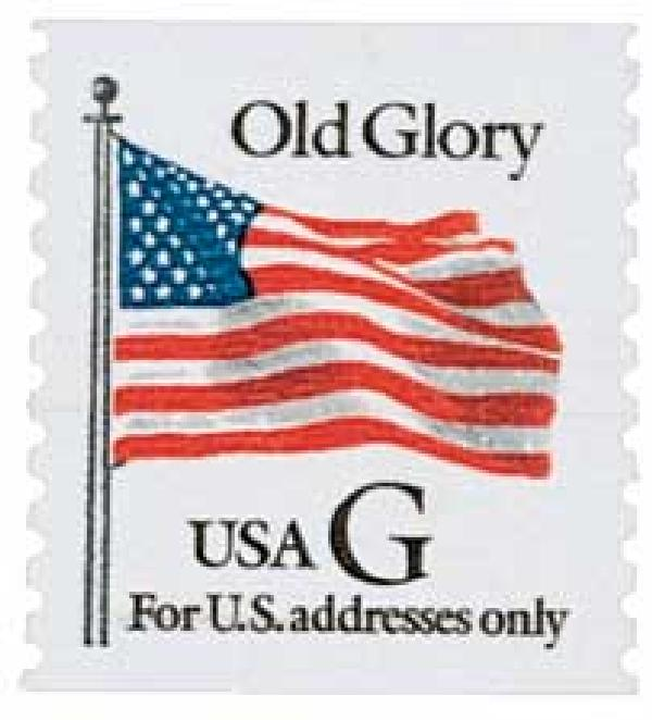 "1994 32c G-rate Old Glory, black ""G"", coil"
