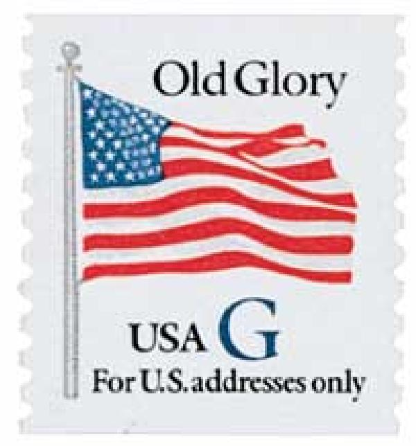 "1994 32c G-rate Old Glory, blue ""G"", coil"