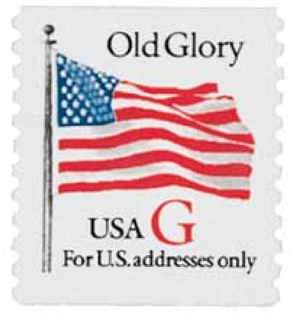 "1994 32c G-rate Old Glory, red ""G"", coil"