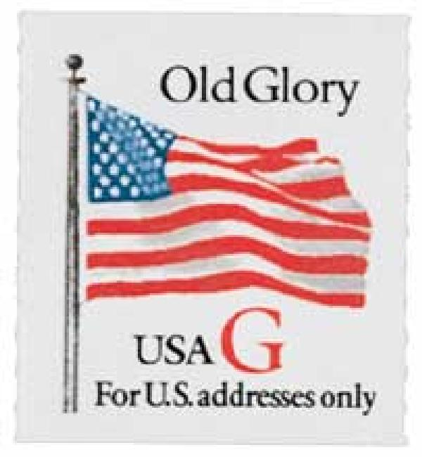 "1994 32c G-rate Old Glory, red ""G"", rouletted coil"