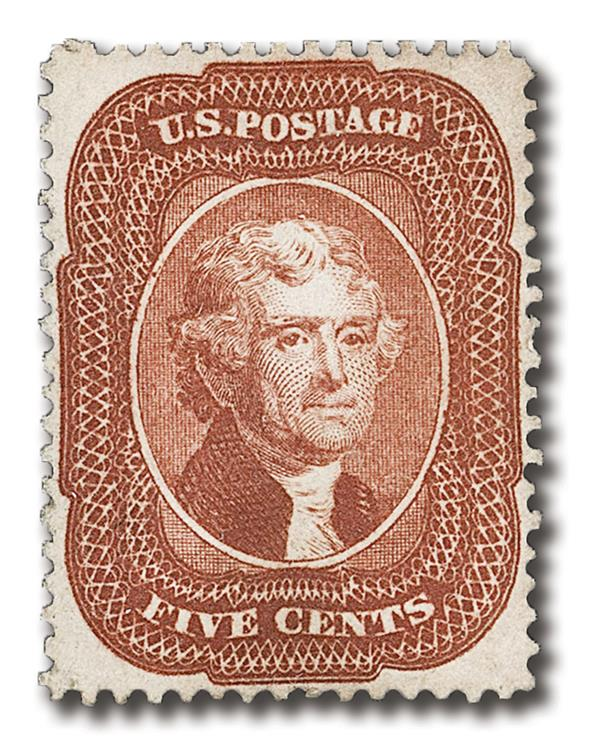 1858 5c Jefferson, indian red, type I