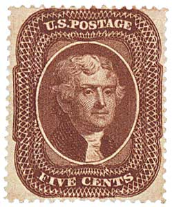 1859 5c Jefferson, brown, T1