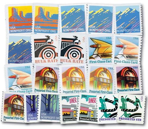 1995-98 American Series, set of 22 stamps