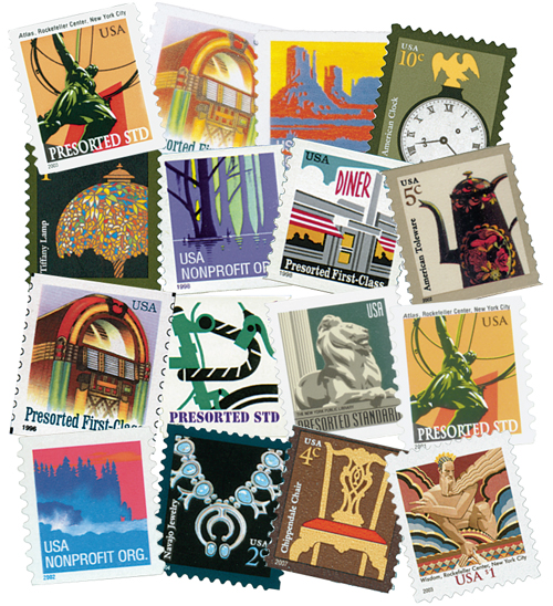 1995-2014 American Series, complete set of 55 stamps