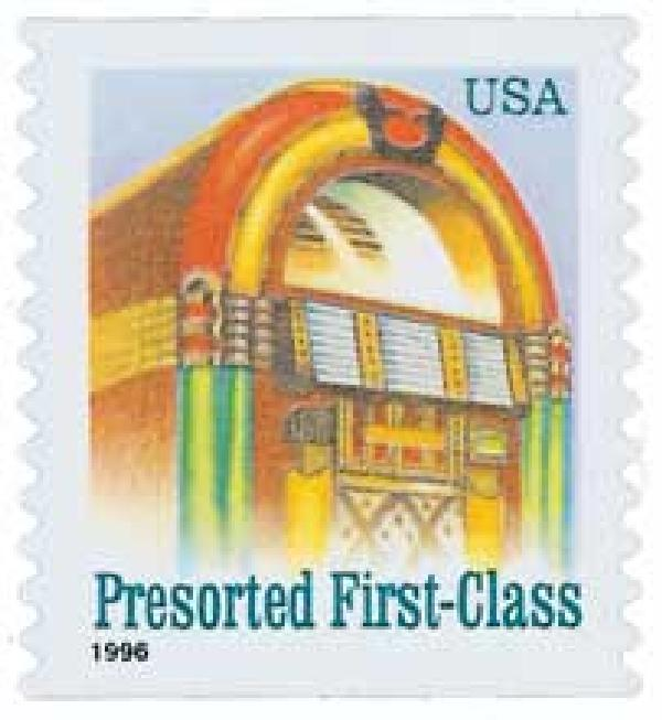 1996 25c Juke Box, non-denominational, self-adhesive coil stamp
