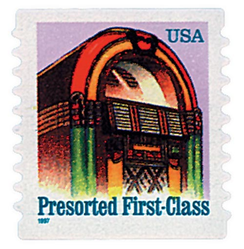 1997 25c Juke Box, non-denominational, self-adhesive coil stamp