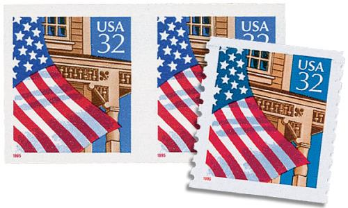 1995 32c Flag Over Porch, misperf with normal stamp
