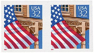 1995 32c Flag Over the Porch, red date, imperforate pair with free 2913 pair