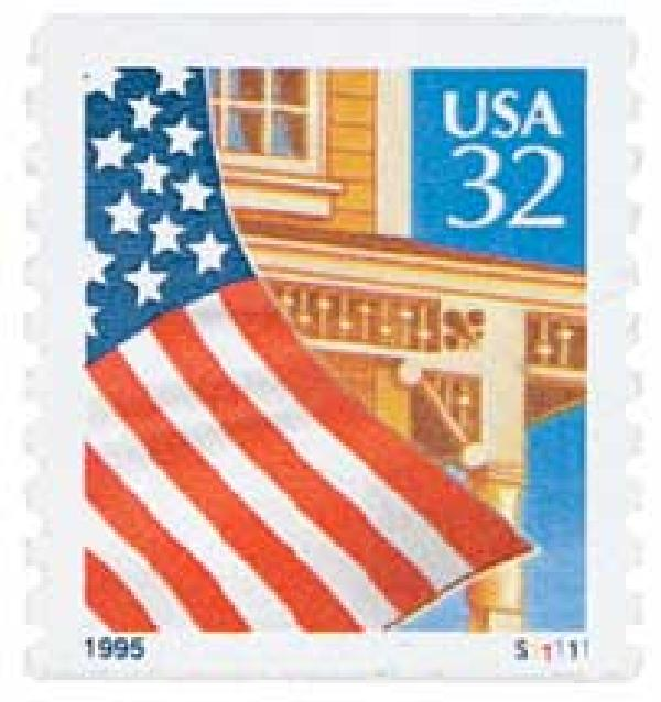 1995 32c Flag Over Porch, blue date, coil