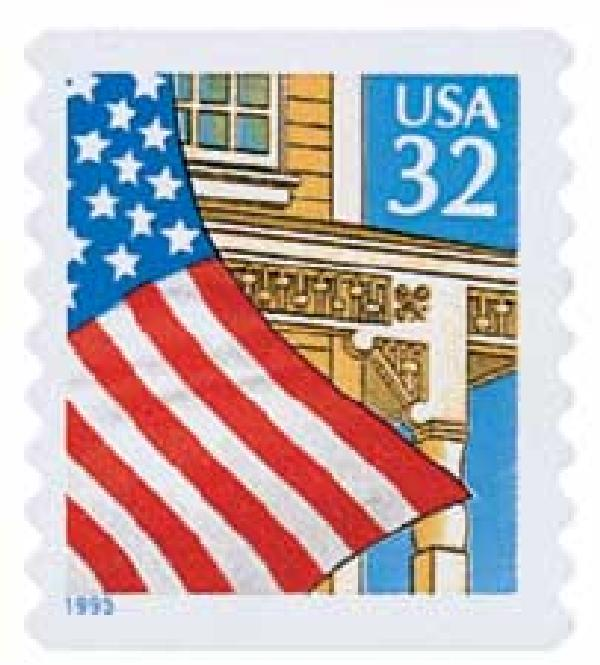 1995 32c Flag Over Porch, self-adhesive coil