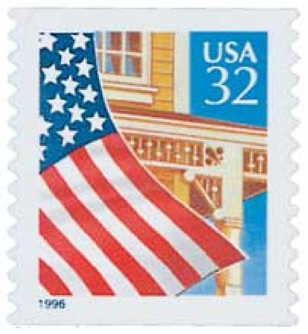 1996 32c Flag Over Porch, self-adhesive coil