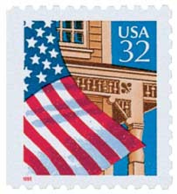 1995 32c Flag Over Porch, red date, booklet single