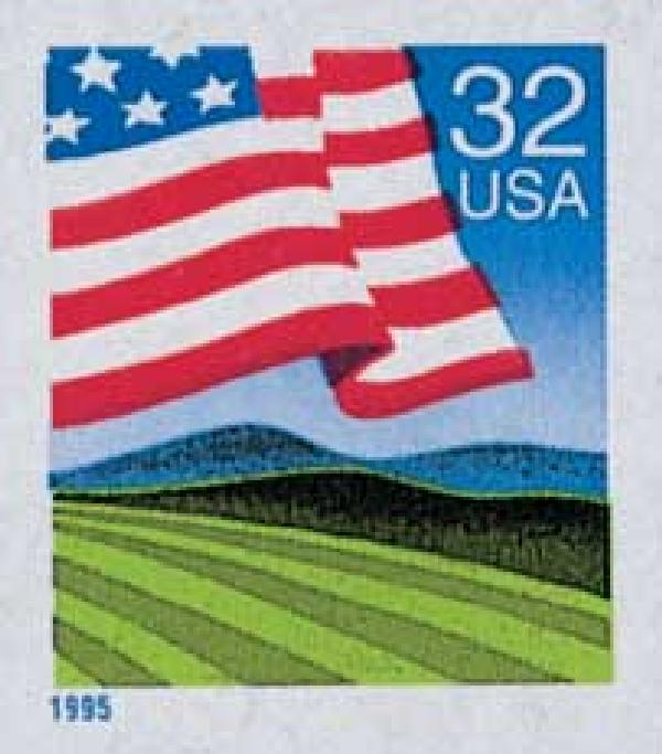 1995 32c Flag Over Field, self-adhesive