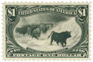1898 $1 Trans-Mississippi Exposition: Cattle in Snowstorm