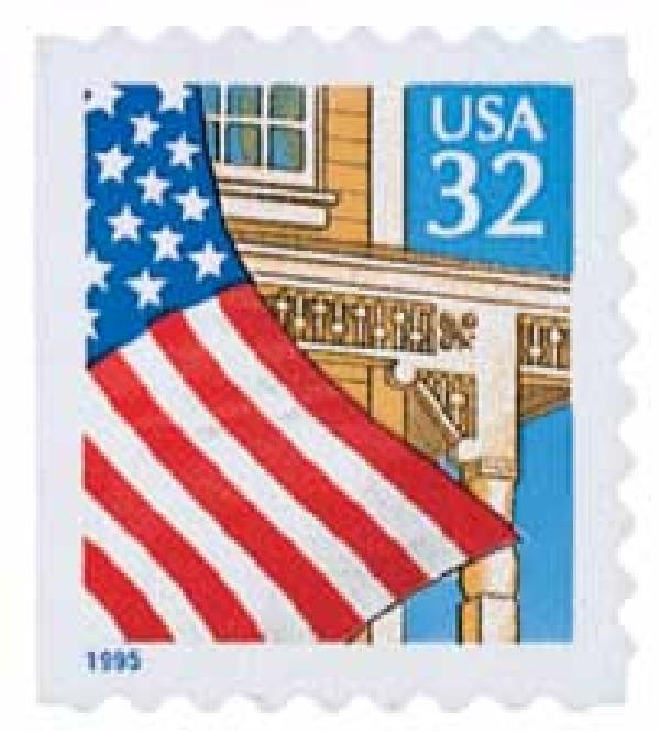1995 32c Flag Over Porch, blue date, booklet single