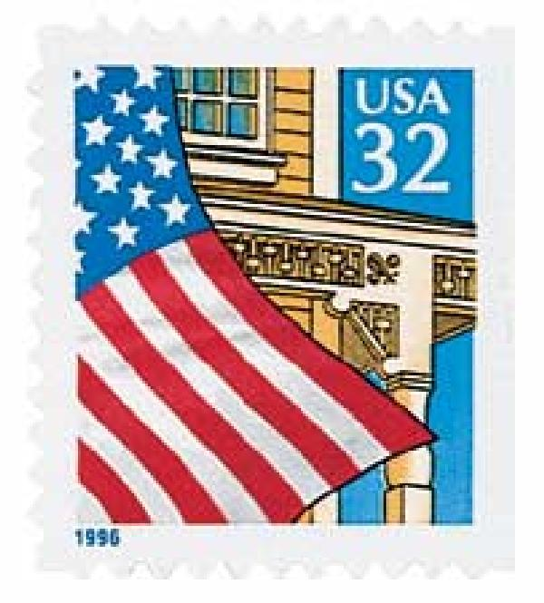 1996 32c Flag over Porch, self-adhesive stamp