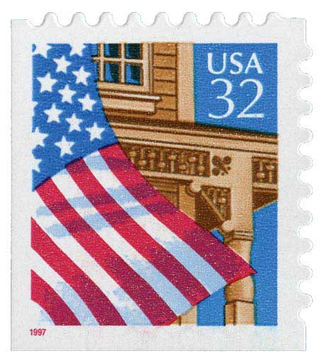 1997 32c Flag Over Porch, red date, booklet single