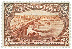 1898 $2 Trans-Mississippi Exposition: Mississippi Bridge