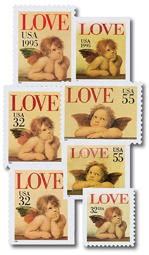 1995-96 Love Cherubs, collection of 7 stamps