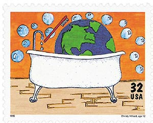 1995 32c Kids Care About the Environment: Earth in a Bathtub