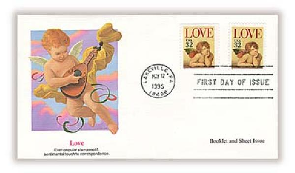 1995 32c Love Cherub Bklt/Sht Combination FDC