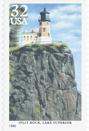1995 32c Great Lakes Lighthouses: Split Rock, Lake Superior
