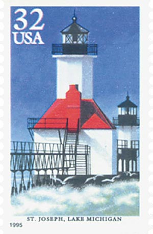 1995 32c Great Lakes Lighthouses: St. Joseph Lighthouse, Lake Michigan