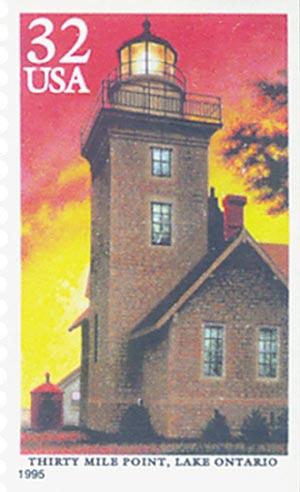 1995 32c 30 Mile Pt. Lighthouse,blkt sng