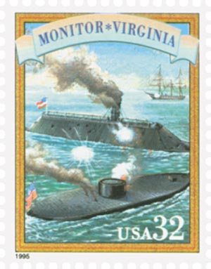1995 32c Civil War: Monitor-Virginia