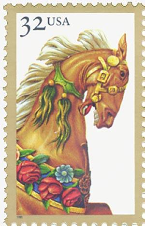 1995 32c Carousel Horses: Palamino Pony