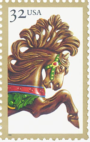 1995 32c Brown Jumper Carousel Horse