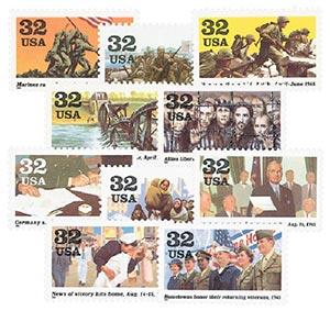 1995 32c World War II, 10 single stamps