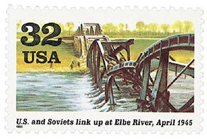 1995 US and Soviets link at Elbe River stamp