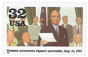 1995 32c Truman announces Japans Surrenders