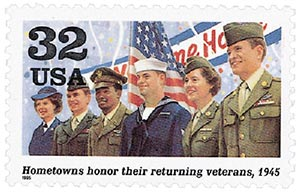 1995 32c World War II: Hometowns Honor Their Returning Veterans