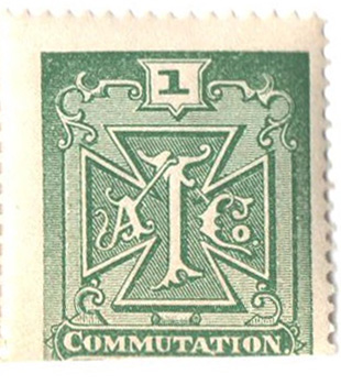 "1888 1c grn,perf 13,""Atlantic tel"""