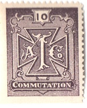 "1888 10c pur brn,perf 13,Atlantic tel"""