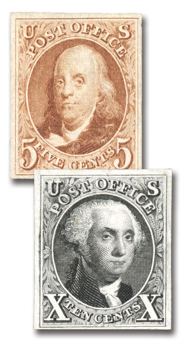 Complete Set of 2, 1847 10c Washington & 5c Franklin