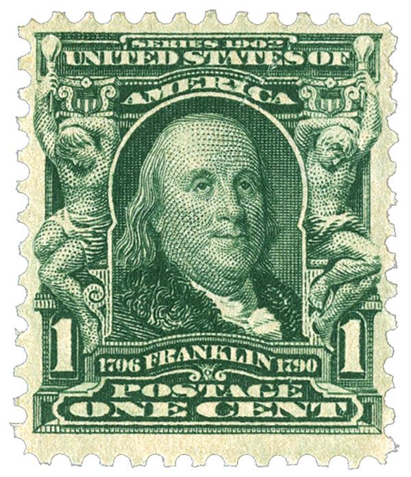 1903 1c Franklin, blue green