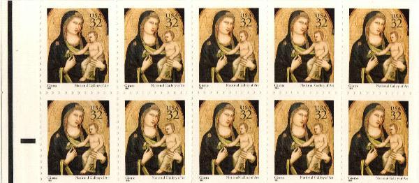 1995 32c Madonna and Child pane of 10