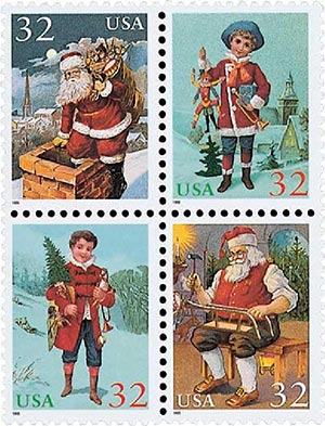 1995 32c Contemporary Christmas: Santa and Children