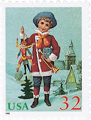 1995 32c Contemporary Christmas: Child with Jumping Jack