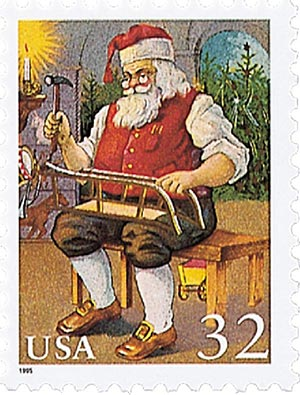 1995 32c Contemporary Christmas: Santa Building a Sled