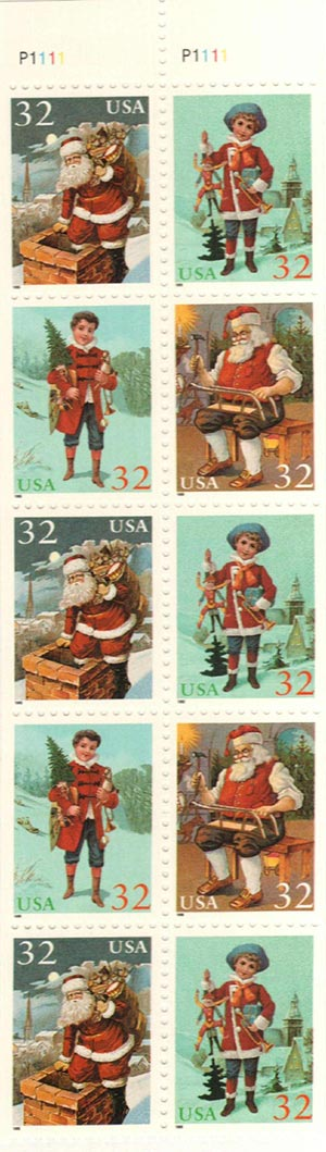 1995 32c Christmas,bkt,3-3004/5,2-3006/7