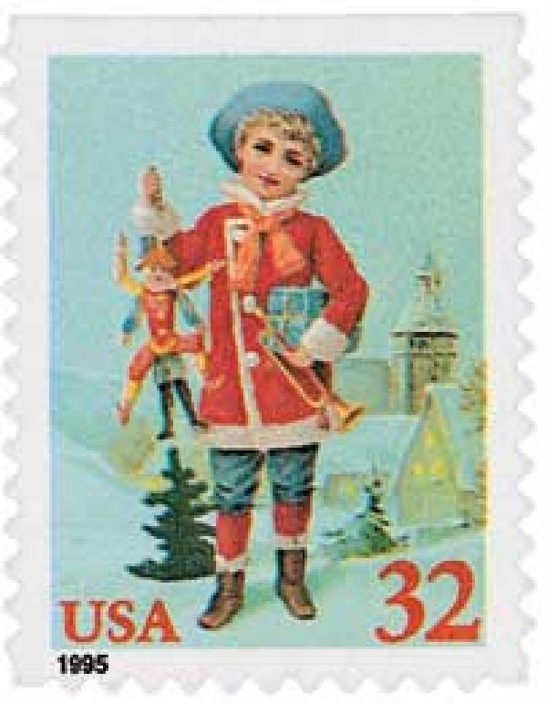 1995 32c Contemporary Christmas: Child with Jumping Jack, booklet single